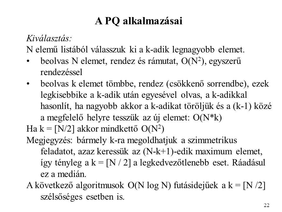 A PQ alkalmazásai Kiválasztás: N elemű listából válasszuk ki a k-adik legnagyobb elemet.