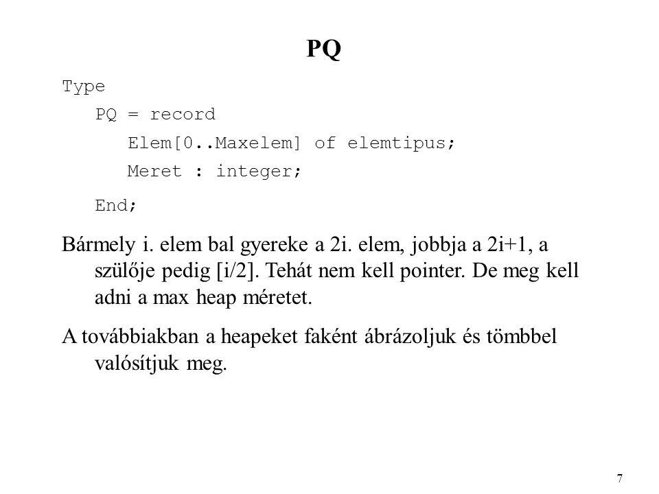 PQ Type PQ = record Elem[0..Maxelem] of elemtipus; Meret : integer; End; Bármely i. elem bal gyereke a 2i. elem, jobbja a 2i+1, a szülője pedig [i/2].
