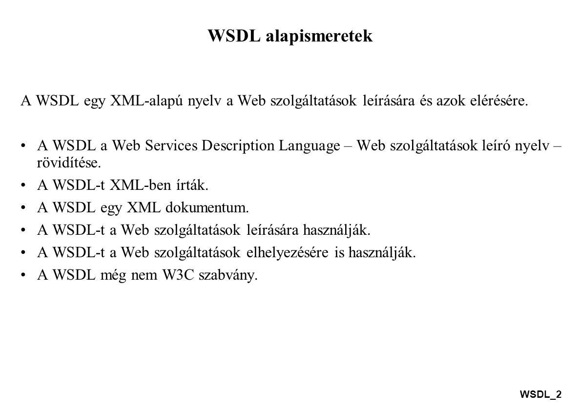 WSDL_3 WSDL alapismeretek A WSDL dokumentum szerkezete A WSDL az alábbi fő elemek felhasználásával határozza meg a web szolgáltatást: a web szolgáltatás által végrehajtódó műveletek, a web szolgáltatás által használt üzenetek, a web szolgáltatás által használt adat típusok, a web szolgáltatás által használt kommunikációs protokollok.