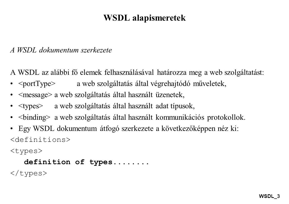 WSDL_14 A WSDL és a UDDI A UDDI (Universal Description, Discovery and Integration – univerzális leírás, felderítés és integráció) egy directory (jegyzék, könyvtár) szolgáltatás, ahol a vállalkozások bejegyezhetnek (regisztrálhatnak) és kereshetnek web szolgáltatásokat.