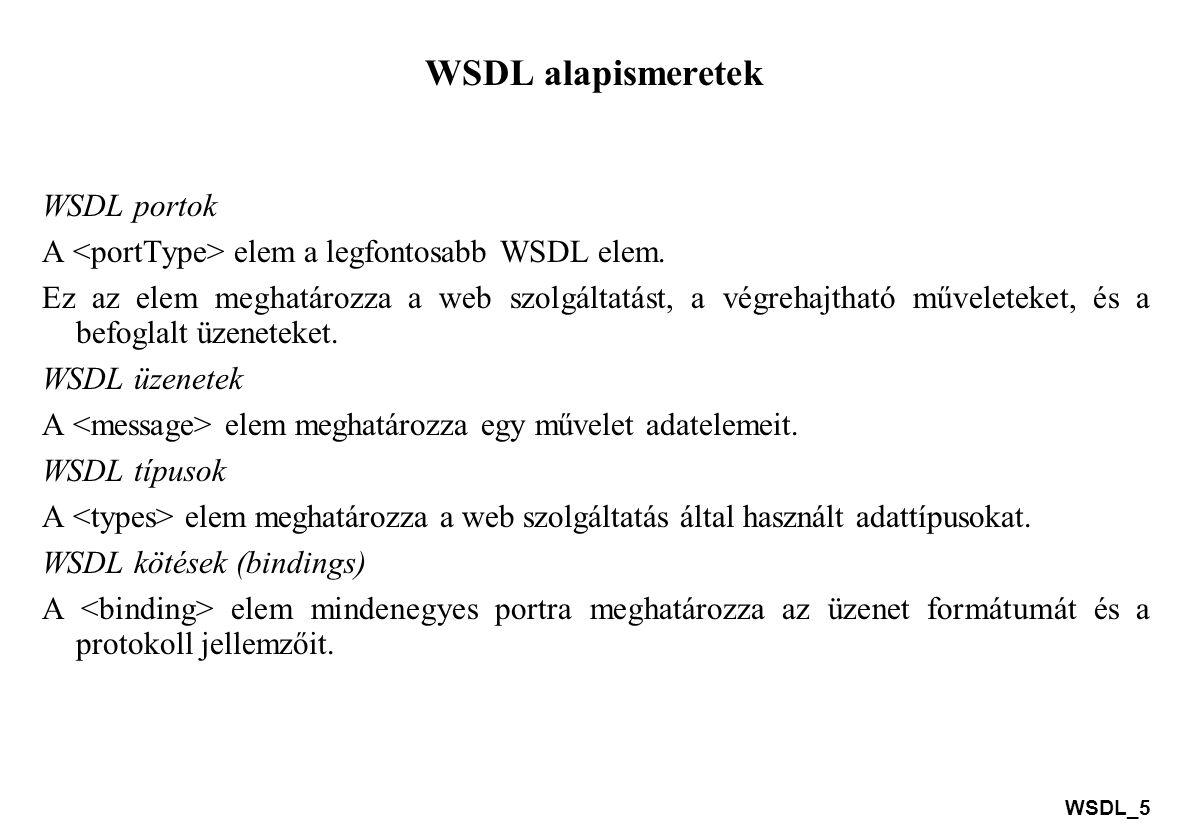 WSDL_16 A WSDL és a UDDI A UDDI specifikáció a következő problémák megoldásában segíthet: lehetővé válik a megfelelő vállalkozás online felderítése a több millióból, a felfedezett előnyös vállalkozással lehetővé teszi a kereskedés módjának meghatározását, új vásárlók elérése, a meglévő vásárlók hatékonyabb elérése, bővülő ajánlatok és szélesedő piaci elérhetőség, a vásárló-vezérelt szükségletek megoldása a gátak eltávolításával, ami lehetővé teszi a gyors részvételt a globális Internetes gazdaságban, a szolgáltatási és üzleti folyamatok programozott leírása egyetlen, nyílt és biztonságos környezetben.