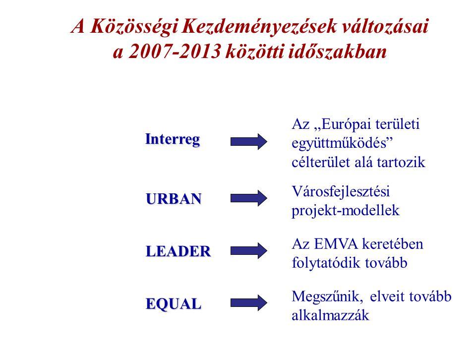 """A Közösségi Kezdeményezések változásai a 2007-2013 közötti időszakban Interreg URBAN LEADER EQUAL Az """"Európai területi együttműködés"""" célterület alá t"""