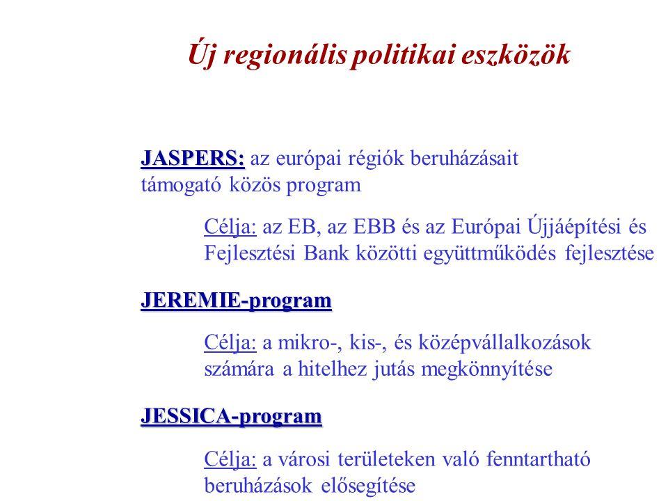 Új regionális politikai eszközök JASPERS: JASPERS: az európai régiók beruházásait támogató közös program Célja: az EB, az EBB és az Európai Újjáépítés