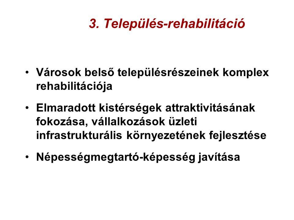 3. Település-rehabilitáció Városok belső településrészeinek komplex rehabilitációja Elmaradott kistérségek attraktivitásának fokozása, vállalkozások ü