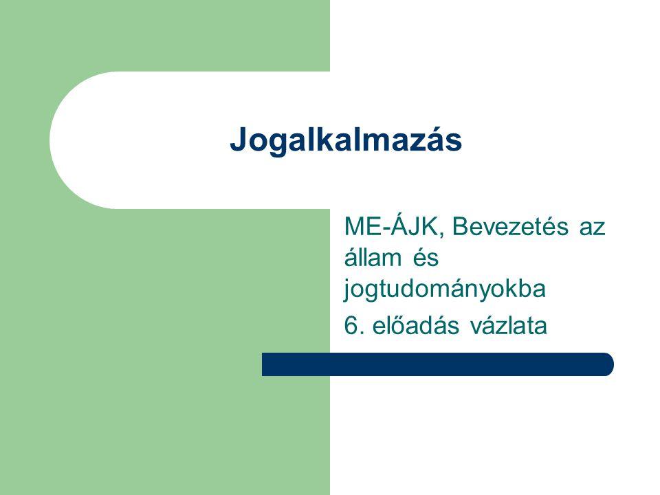 Jogalkalmazás ME-ÁJK, Bevezetés az állam és jogtudományokba 6. előadás vázlata