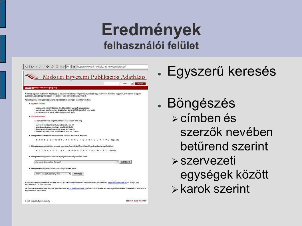 Eredmények adminisztrációs felület: bibliográfiai adatok