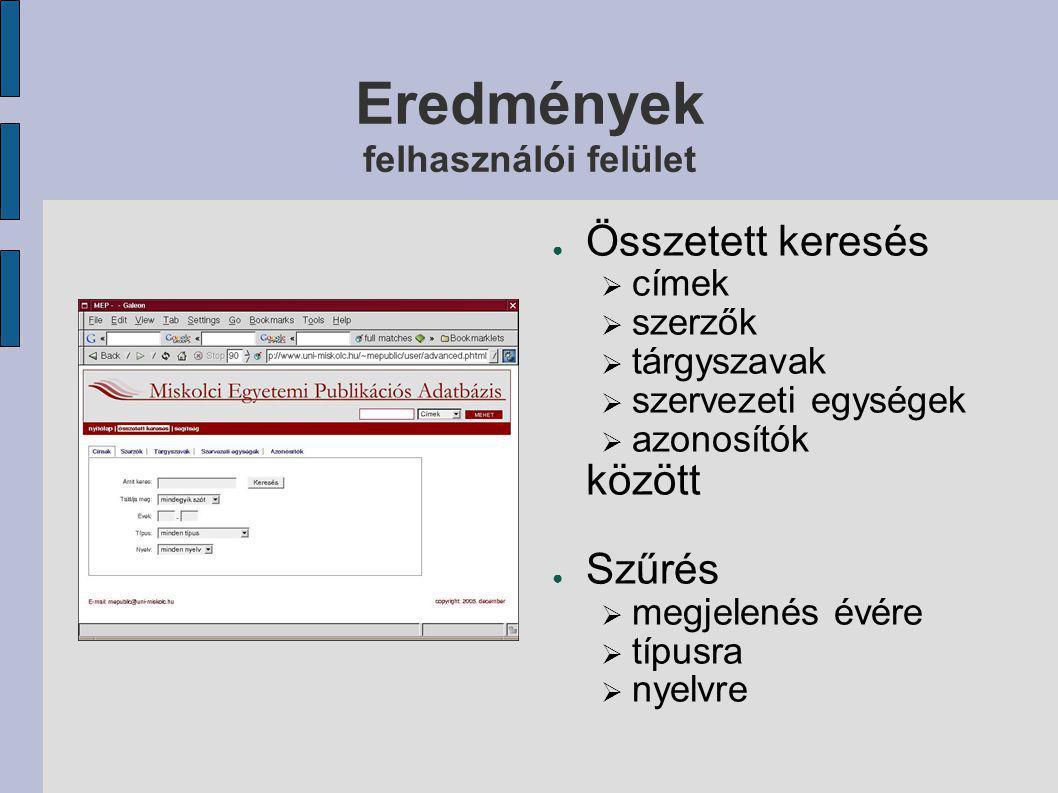 Eredmények felhasználói felület ● Egyszerű keresés ● Böngészés  címben és szerzők nevében betűrend szerint  szervezeti egységek között  karok szerint