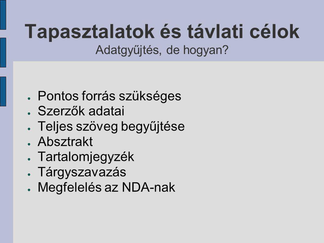 Eredmények felhasználói felület ● Összetett keresés  címek  szerzők  tárgyszavak  szervezeti egységek  azonosítók között ● Szűrés  megjelenés évére  típusra  nyelvre