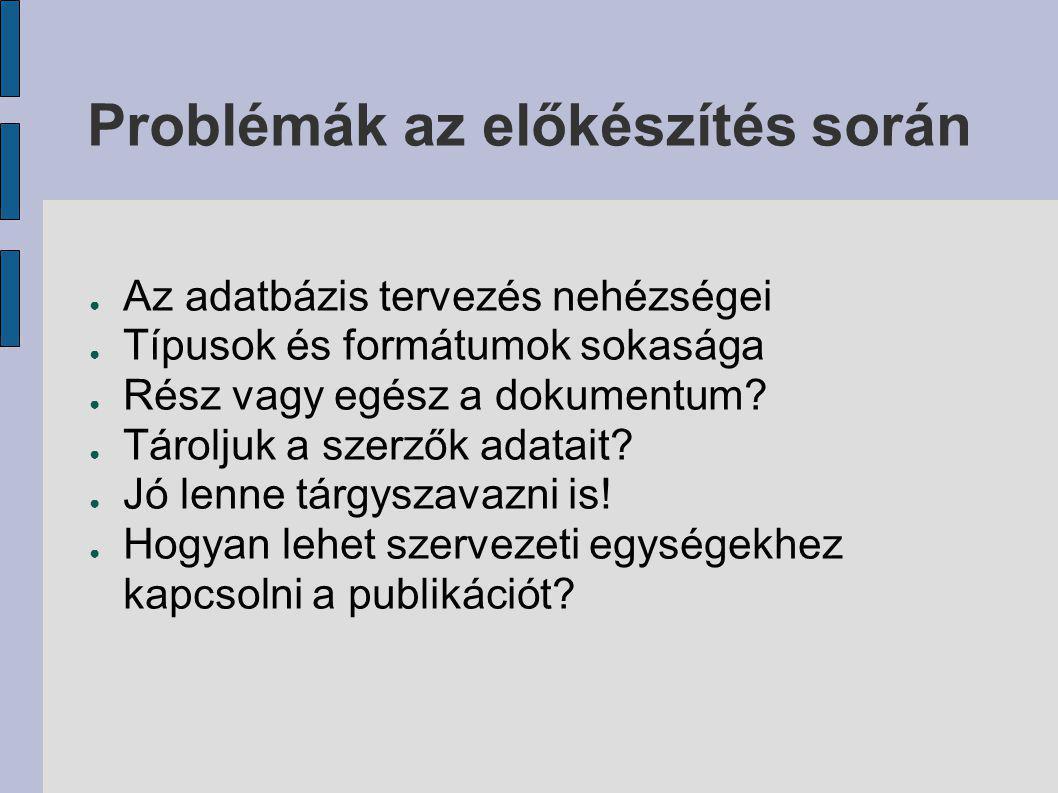 Célok és tervek ● Publikációs listák a magyar Interneten (Körkép) ● Káosz helyett rend ● Kereshetőség ● Szabványos megjelenítés ● Teljesszövegű elérés ● META-adatok és exportjuk