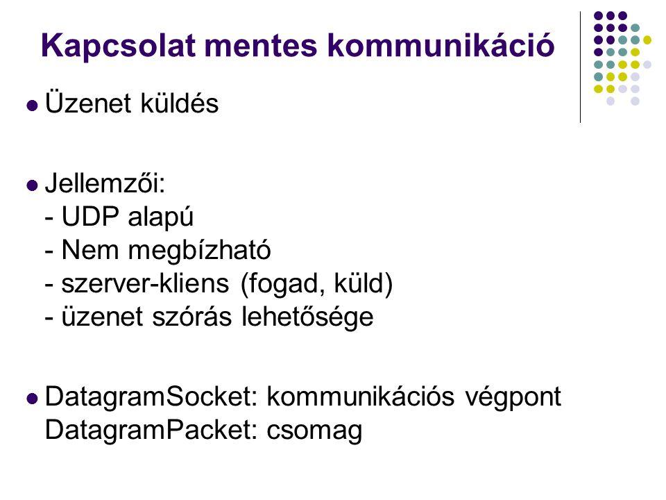 Kapcsolat mentes kommunikáció Szerver: - DatagramSocket létrehozása egy port-t megadva, - várakozás a csomagokra.