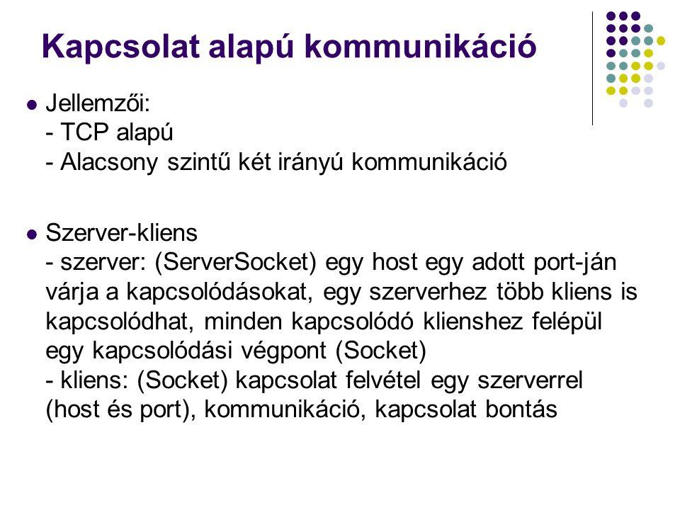 Kapcsolat alapú kommunikáció Jellemzői: - TCP alapú - Alacsony szintű két irányú kommunikáció Szerver-kliens - szerver: (ServerSocket) egy host egy ad