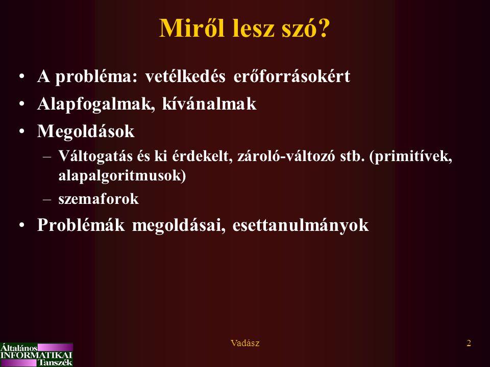 Vadász23 Szemaforok Dijkstra (1965) szemafor: pozitív egész számot tartalmazó közös változó és egy várakozási sor.