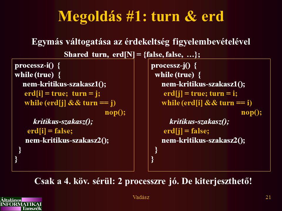 Vadász21 Megoldás #1: turn & erd Egymás váltogatása az érdekeltség figyelembevételével processz-i() { while (true) { nem-kritikus-szakasz1(); erd[i] = true; turn = j; while (erd[j] && turn == j) nop(); kritikus-szakasz(); erd[i] = false; nem-kritikus-szakasz2(); } processz-j() { while (true) { nem-kritikus-szakasz1(); erd[j] = true; turn = i; while (erd[i] && turn == i) nop(); kritikus-szakasz(); erd[j] = false; nem-kritikus-szakasz2(); } Shared turn, erd[N] = {false, false, …}; Csak a 4.