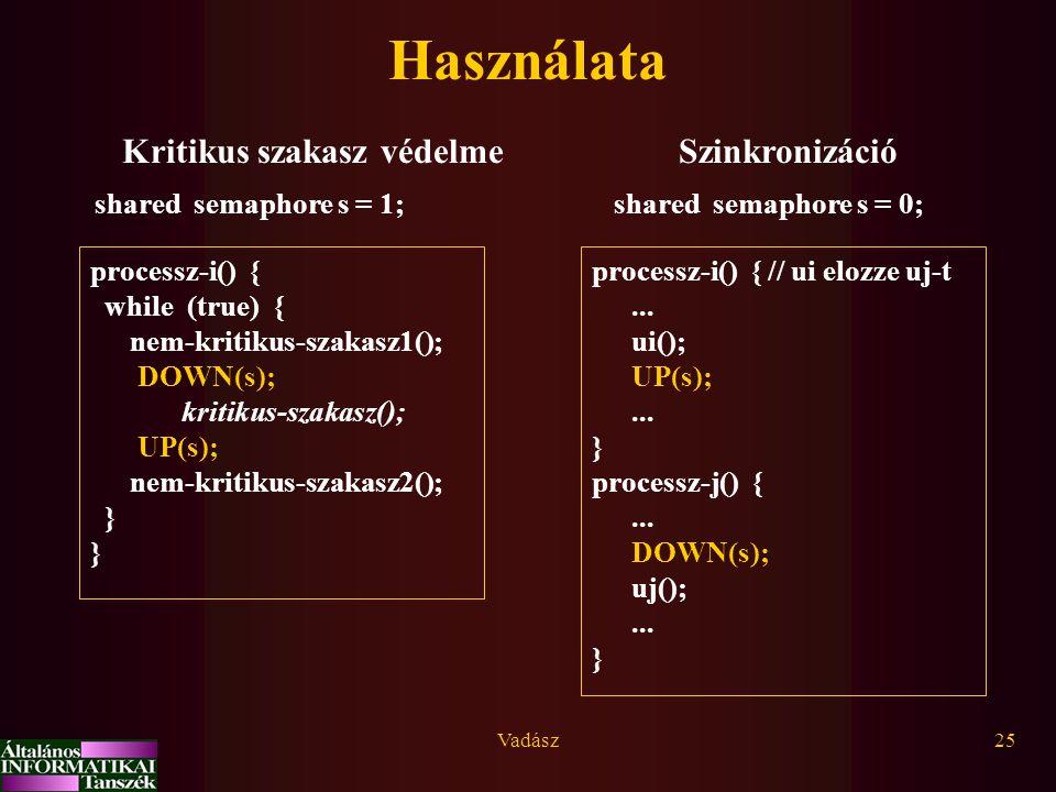 Vadász25 Használata Kritikus szakasz védelme processz-i() { while (true) { nem-kritikus-szakasz1(); DOWN(s); kritikus-szakasz(); UP(s); nem-kritikus-szakasz2(); } shared semaphore s = 1; Szinkronizáció shared semaphore s = 0; processz-i() { // ui elozze uj-t...