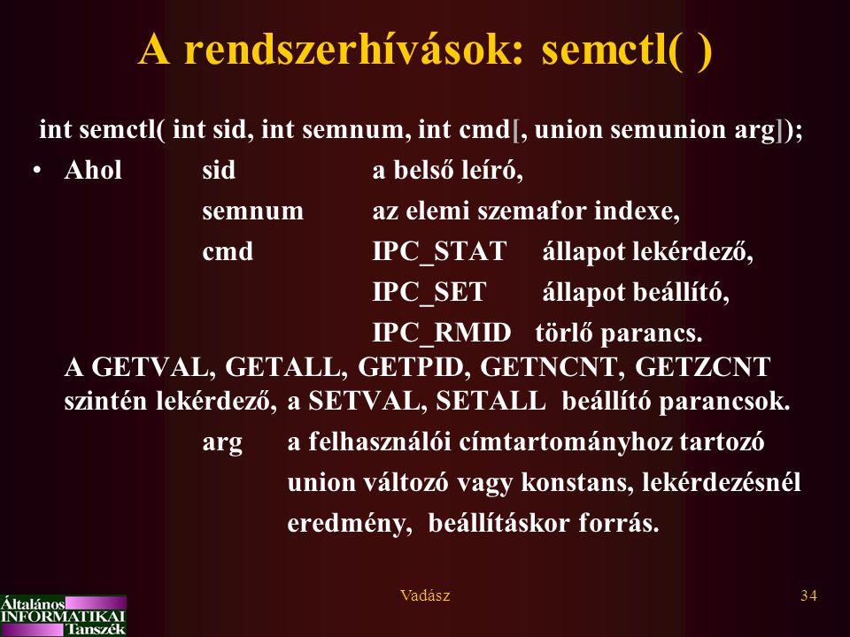 Vadász34 A rendszerhívások: semctl( ) int semctl( int sid, int semnum, int cmd[, union semunion arg]); Aholsida belső leíró, semnumaz elemi szemafor indexe, cmdIPC_STATállapot lekérdező, IPC_SETállapot beállító, IPC_RMID törlő parancs.