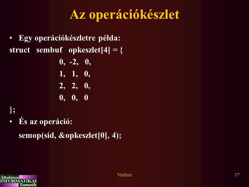 Vadász37 Az operációkészlet Egy operációkészletre példa: struct sembuf opkeszlet[4] = { 0, -2, 0, 1, 1, 0, 2, 2, 0, 0, 0, 0 }; És az operáció: semop(sid, &opkeszlet[0], 4);