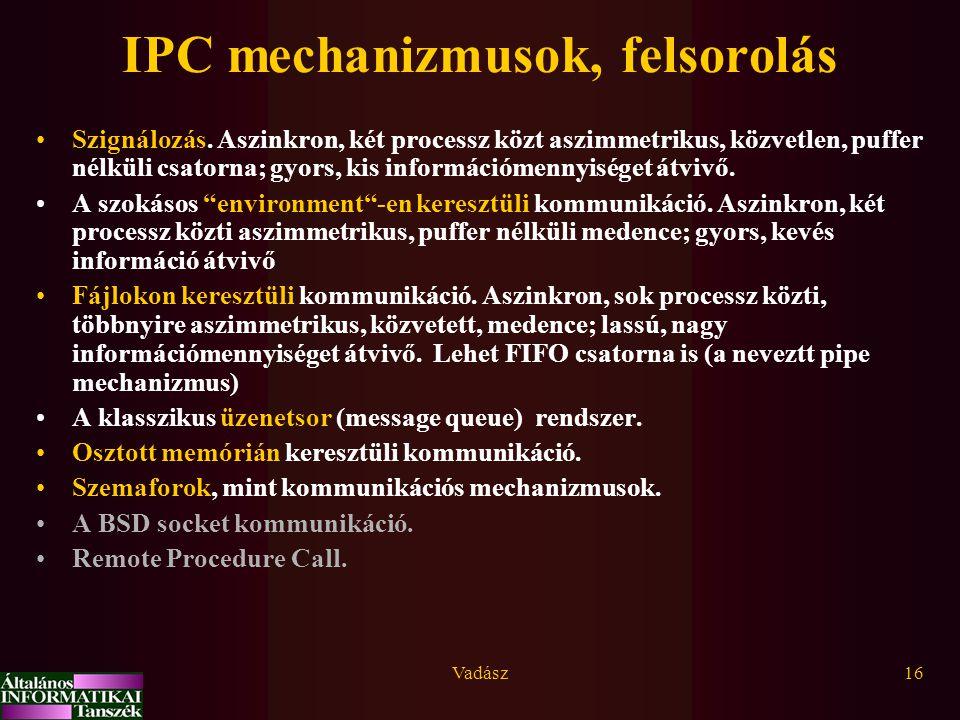 Vadász16 IPC mechanizmusok, felsorolás Szignálozás. Aszinkron, két processz közt aszimmetrikus, közvetlen, puffer nélküli csatorna; gyors, kis informá
