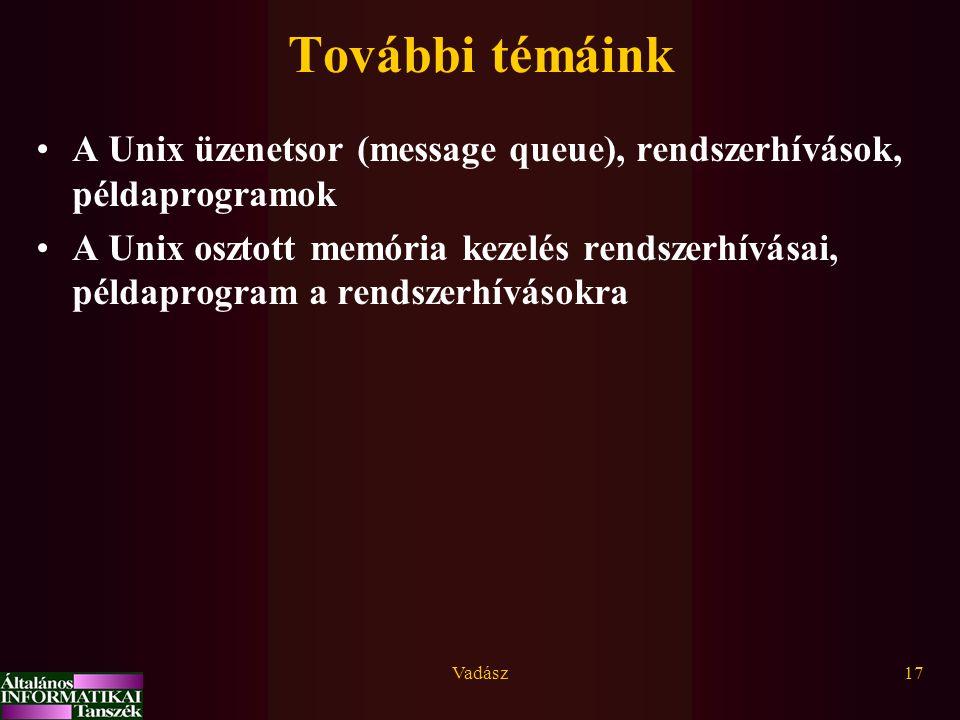 Vadász17 További témáink A Unix üzenetsor (message queue), rendszerhívások, példaprogramok A Unix osztott memória kezelés rendszerhívásai, példaprogra