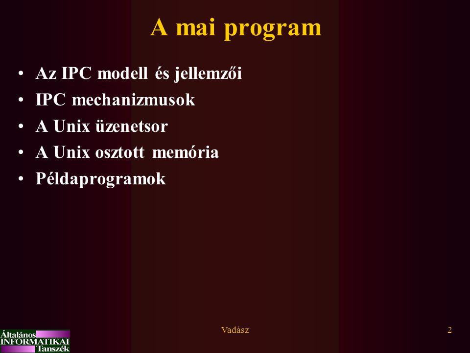 Vadász2 A mai program Az IPC modell és jellemzői IPC mechanizmusok A Unix üzenetsor A Unix osztott memória Példaprogramok