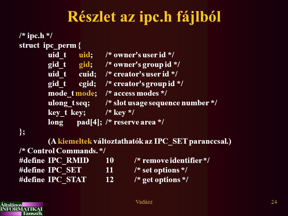 Vadász24 Részlet az ipc.h fájlból /* ipc.h */ struct ipc_perm { uid_t uid;/* owner's user id */ gid_t gid;/* owner's group id */ uid_t cuid;/* creator