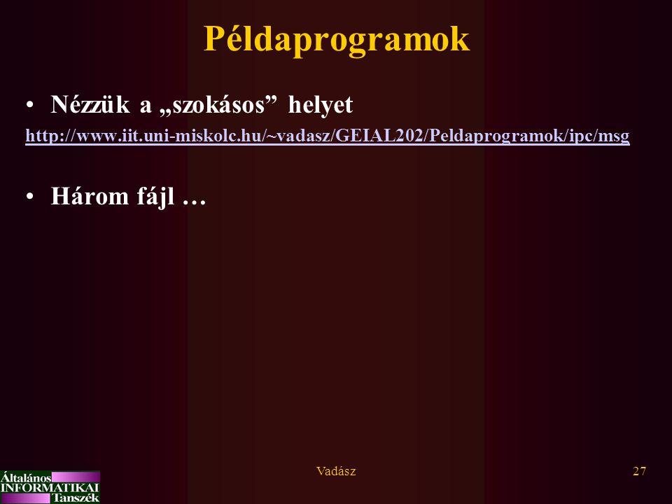 """Vadász27 Példaprogramok Nézzük a """"szokásos"""" helyet http://www.iit.uni-miskolc.hu/~vadasz/GEIAL202/Peldaprogramok/ipc/msg Három fájl …"""