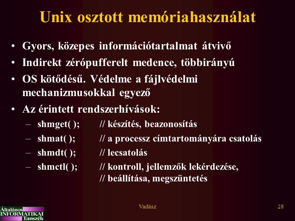 Vadász28 Unix osztott memóriahasználat Gyors, közepes információtartalmat átvivő Indirekt zérópufferelt medence, többirányú OS kötődésű. Védelme a fáj