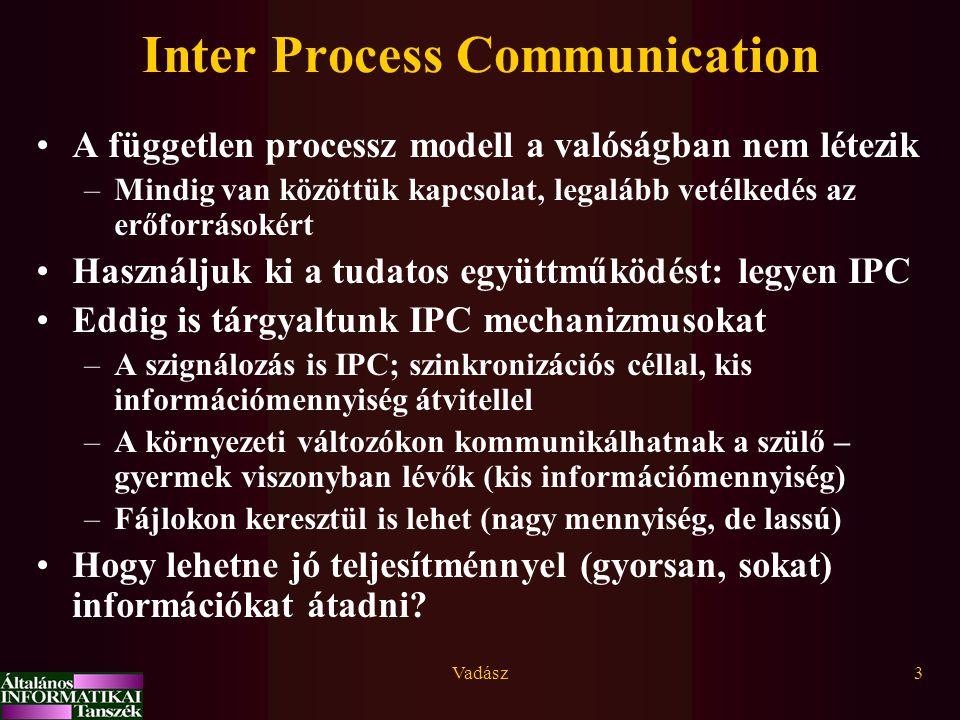 Vadász3 Inter Process Communication A független processz modell a valóságban nem létezik –Mindig van közöttük kapcsolat, legalább vetélkedés az erőfor