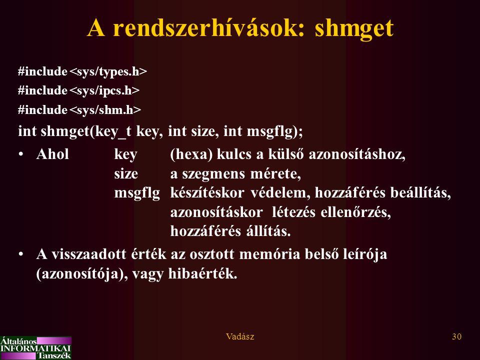 Vadász30 A rendszerhívások: shmget #include int shmget(key_t key, int size, int msgflg); Ahol key (hexa) kulcs a külső azonosításhoz, size a szegmens