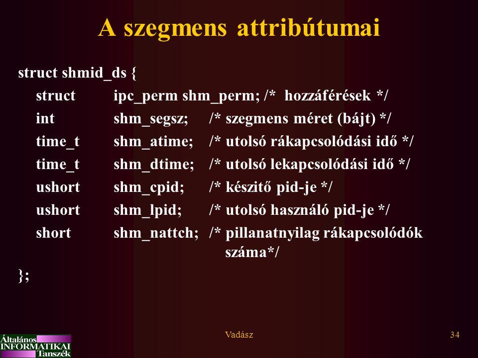 Vadász34 A szegmens attribútumai struct shmid_ds { struct ipc_perm shm_perm; /* hozzáférések */ intshm_segsz;/* szegmens méret (bájt) */ time_tshm_ati
