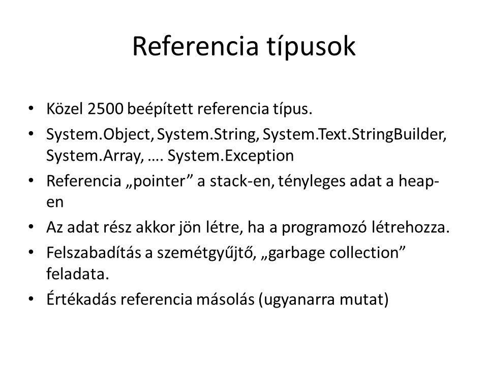 Referencia típusok Közel 2500 beépített referencia típus. System.Object, System.String, System.Text.StringBuilder, System.Array, …. System.Exception R