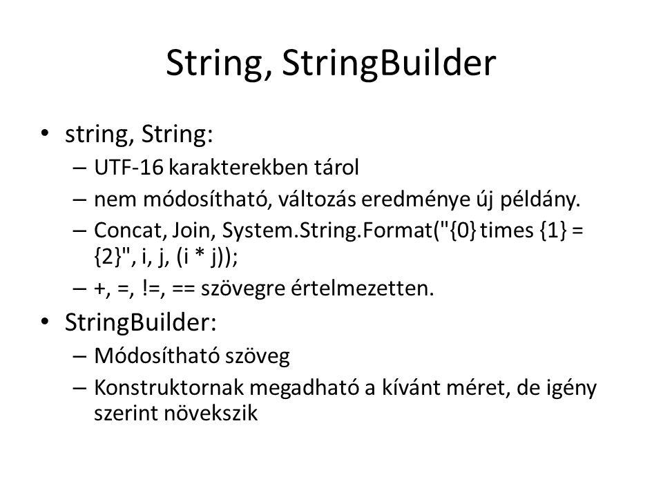 String, StringBuilder string, String: – UTF-16 karakterekben tárol – nem módosítható, változás eredménye új példány. – Concat, Join, System.String.For