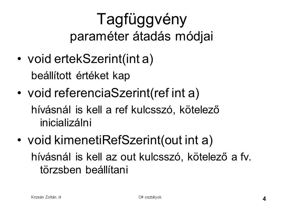 Krizsán Zoltán, iit C# osztályok 4 Tagfüggvény paraméter átadás módjai void ertekSzerint(int a) beállított értéket kap void referenciaSzerint(ref int