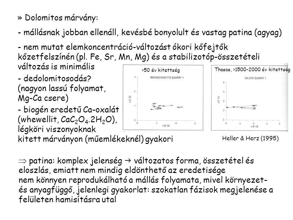 » Dolomitos márvány: - mállásnak jobban ellenáll, kevésbé bonyolult és vastag patina (agyag) - nem mutat elemkoncentráció-változást ókori kőfejtők kőzetfelszínén (pl.