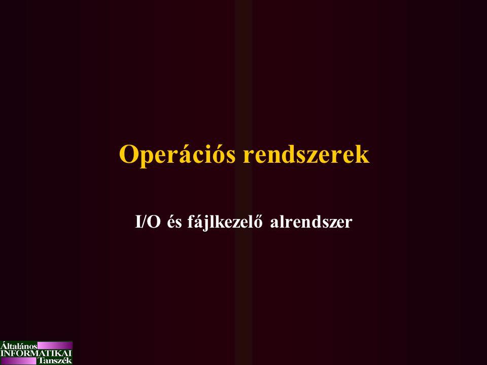 Operációs rendszerek I/O és fájlkezelő alrendszer