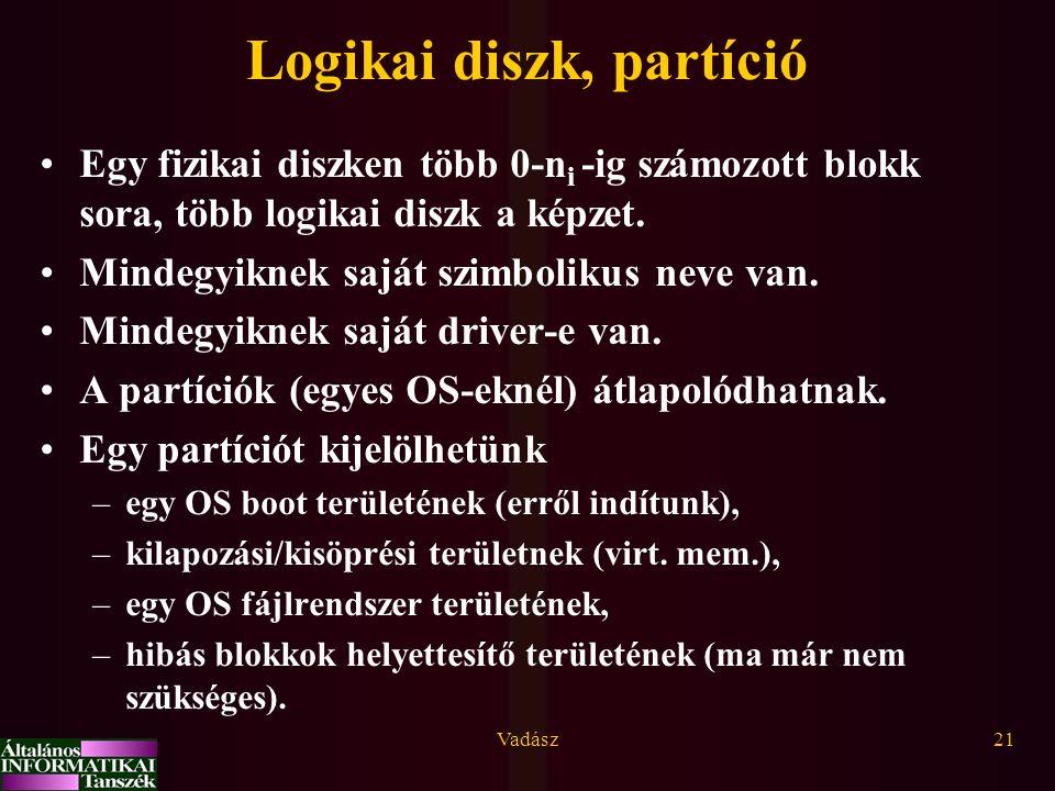 Vadász21 Logikai diszk, partíció Egy fizikai diszken több 0-n i -ig számozott blokk sora, több logikai diszk a képzet. Mindegyiknek saját szimbolikus