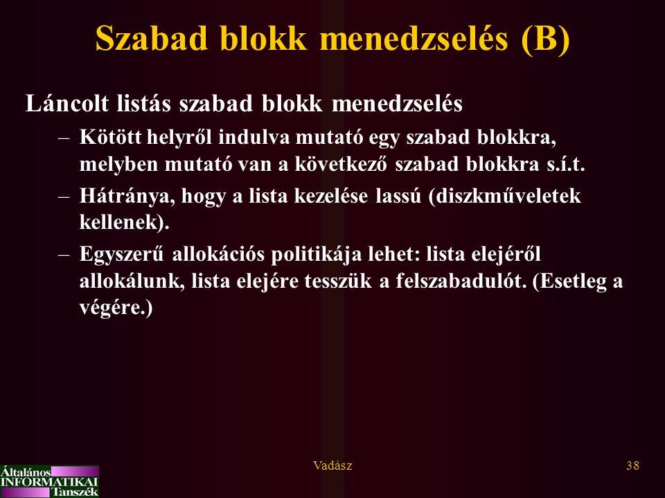 Vadász38 Szabad blokk menedzselés (B) Láncolt listás szabad blokk menedzselés –Kötött helyről indulva mutató egy szabad blokkra, melyben mutató van a