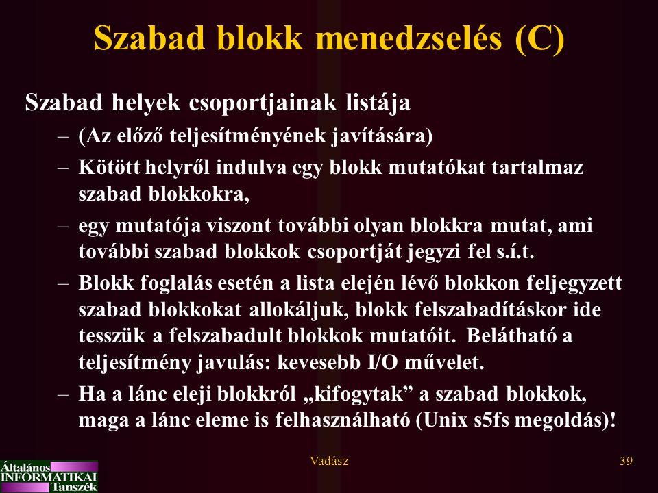 Vadász39 Szabad blokk menedzselés (C) Szabad helyek csoportjainak listája –(Az előző teljesítményének javítására) –Kötött helyről indulva egy blokk mu