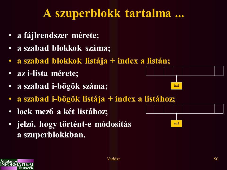 Vadász50 A szuperblokk tartalma... a fájlrendszer mérete; a szabad blokkok száma; a szabad blokkok listája + index a listán; az i-lista mérete; a szab