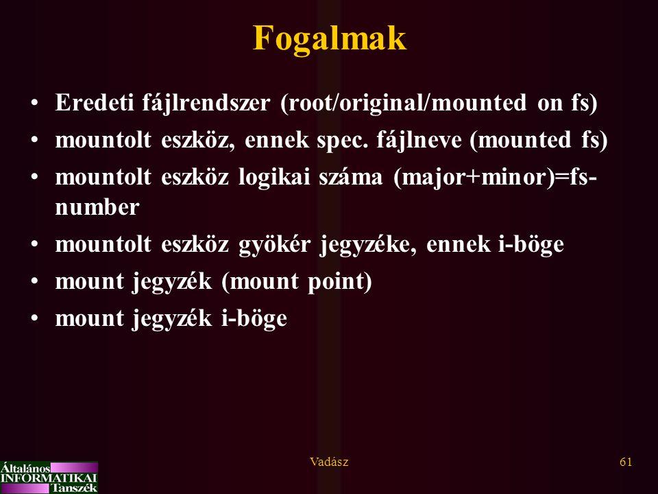 Vadász61 Fogalmak Eredeti fájlrendszer (root/original/mounted on fs) mountolt eszköz, ennek spec. fájlneve (mounted fs) mountolt eszköz logikai száma