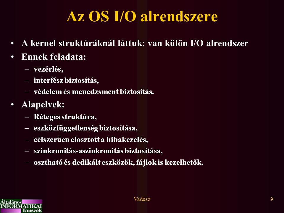 Vadász9 Az OS I/O alrendszere A kernel struktúráknál láttuk: van külön I/O alrendszer Ennek feladata: –vezérlés, –interfész biztosítás, –védelem és me