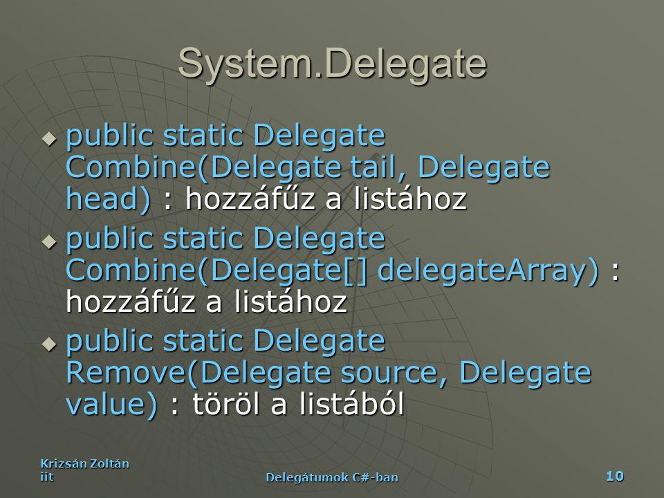 Krizsán Zoltán iit Delegátumok C#-ban 10 System.Delegate  public static Delegate Combine(Delegate tail, Delegate head) : hozzáfűz a listához  public