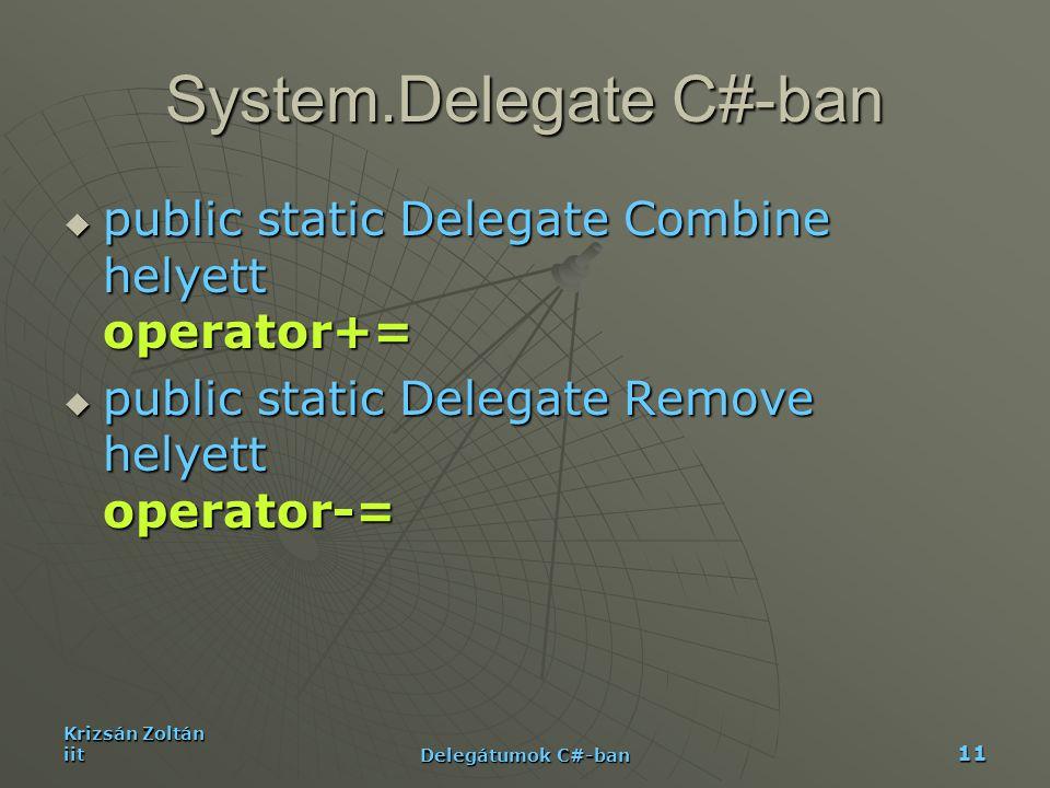 Krizsán Zoltán iit Delegátumok C#-ban 11 System.Delegate C#-ban  public static Delegate Combine helyett operator+=  public static Delegate Remove he