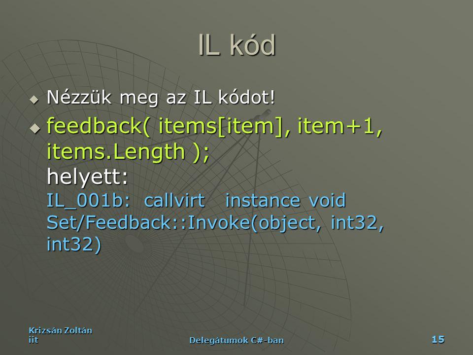 Krizsán Zoltán iit Delegátumok C#-ban 15 IL kód  Nézzük meg az IL kódot!  feedback( items[item], item+1, items.Length ); helyett: IL_001b: callvirt