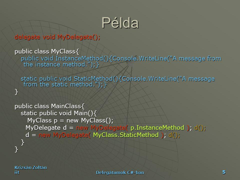 Krizsán Zoltán iit Delegátumok C#-ban 5 Példa delegate void MyDelegate(); public class MyClass{ public void InstanceMethod(){Console.WriteLine(