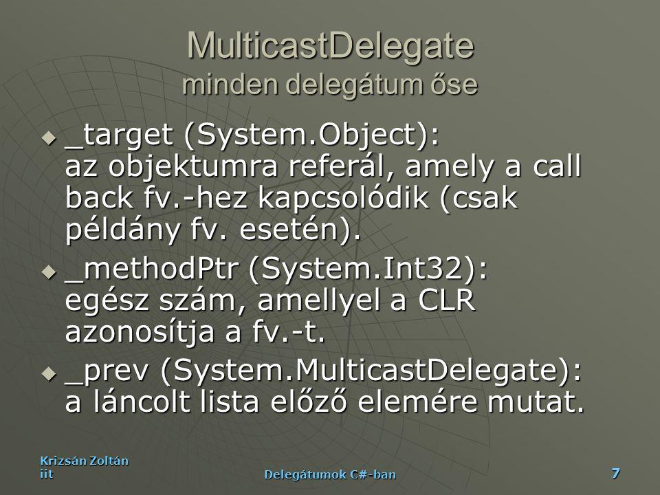 Krizsán Zoltán iit Delegátumok C#-ban 7 MulticastDelegate minden delegátum őse  _target (System.Object): az objektumra referál, amely a call back fv.