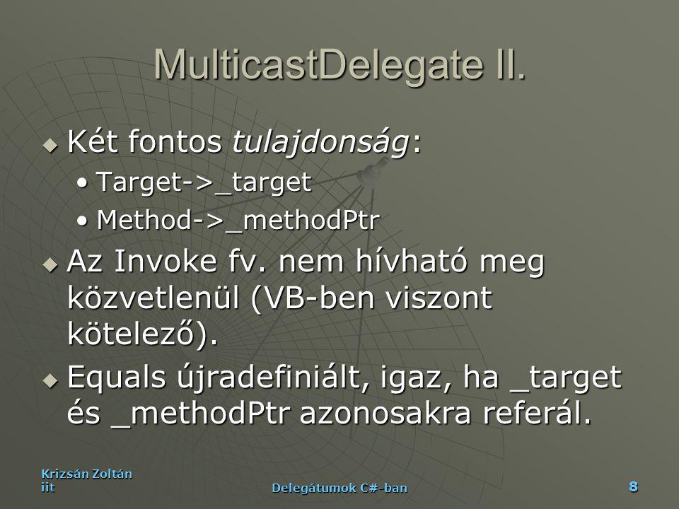 Krizsán Zoltán iit Delegátumok C#-ban 19 Példa III-AppI delegate string GetStatus(); static public void Main() { GetStatus getstatus = null; GetStatus getstatus = null; getstatus += new GetStatus( new Light().GetPosition ); getstatus += new GetStatus( new Light().GetPosition ); getstatus += new GetStatus( new Fan().Speed ); getstatus += new GetStatus( new Fan().Speed ); getstatus += new GetStatus( new Speaker().Volume ); getstatus += new GetStatus( new Speaker().Volume ); Console.WriteLine( Console.WriteLine( GetComponentStatusReport(getstatus) ); }