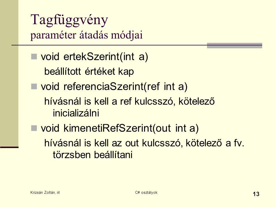 Krizsán Zoltán, iit C# osztályok 13 Tagfüggvény paraméter átadás módjai void ertekSzerint(int a) beállított értéket kap void referenciaSzerint(ref int