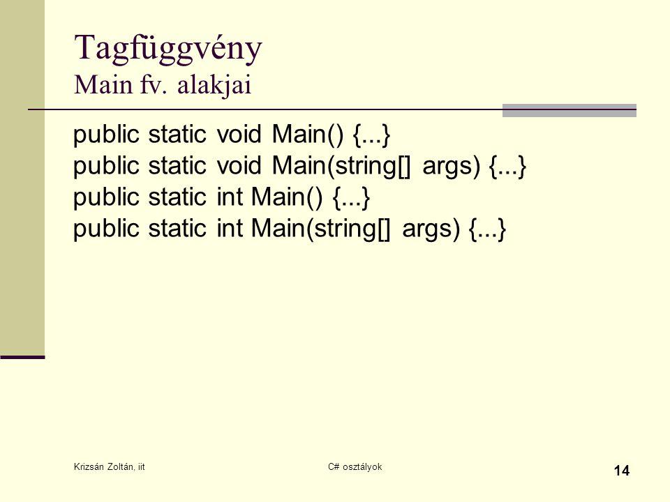 Krizsán Zoltán, iit C# osztályok 14 Tagfüggvény Main fv. alakjai public static void Main() {...} public static void Main(string[] args) {...} public s
