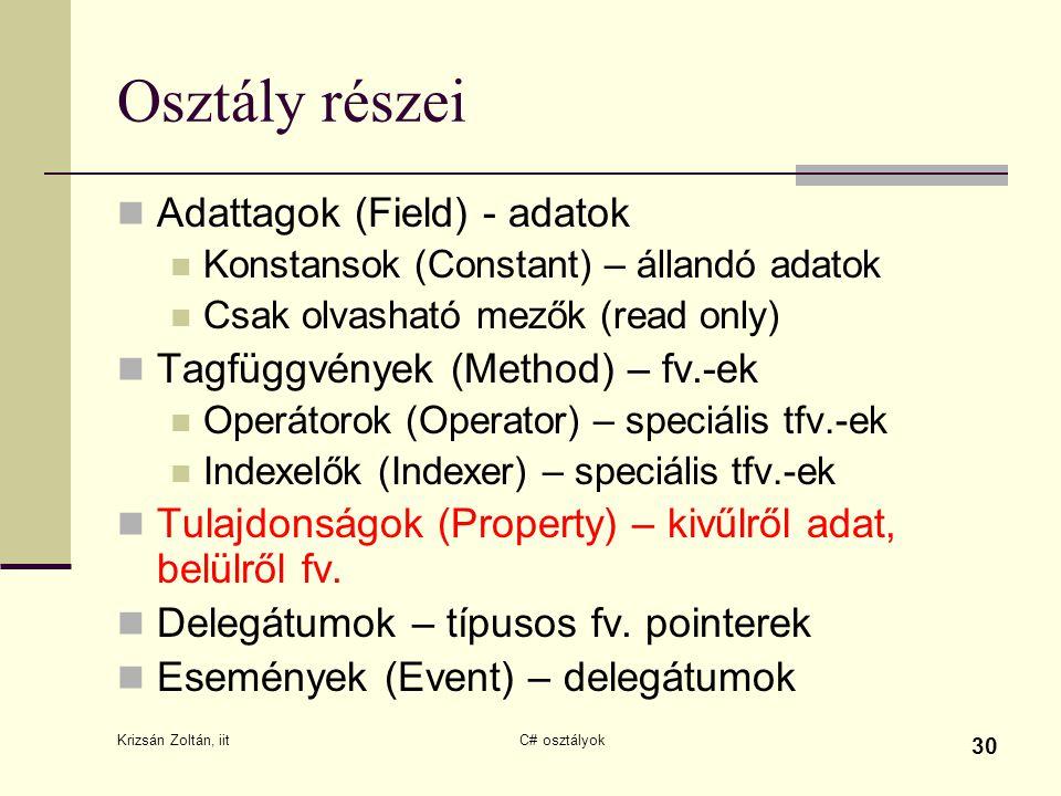 Krizsán Zoltán, iit C# osztályok 30 Osztály részei Adattagok (Field) - adatok Konstansok (Constant) – állandó adatok Csak olvasható mezők (read only)
