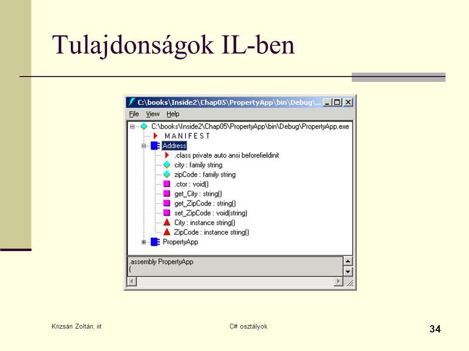 Krizsán Zoltán, iit C# osztályok 34 Tulajdonságok IL-ben